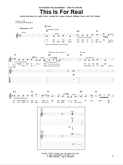 Tablature guitare This Is For Real de Motion City Soundtrack - Tablature Guitare