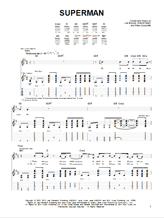 SUPERMAN CHORDS by Joe Brooks @ Ultimate-Guitar.Com