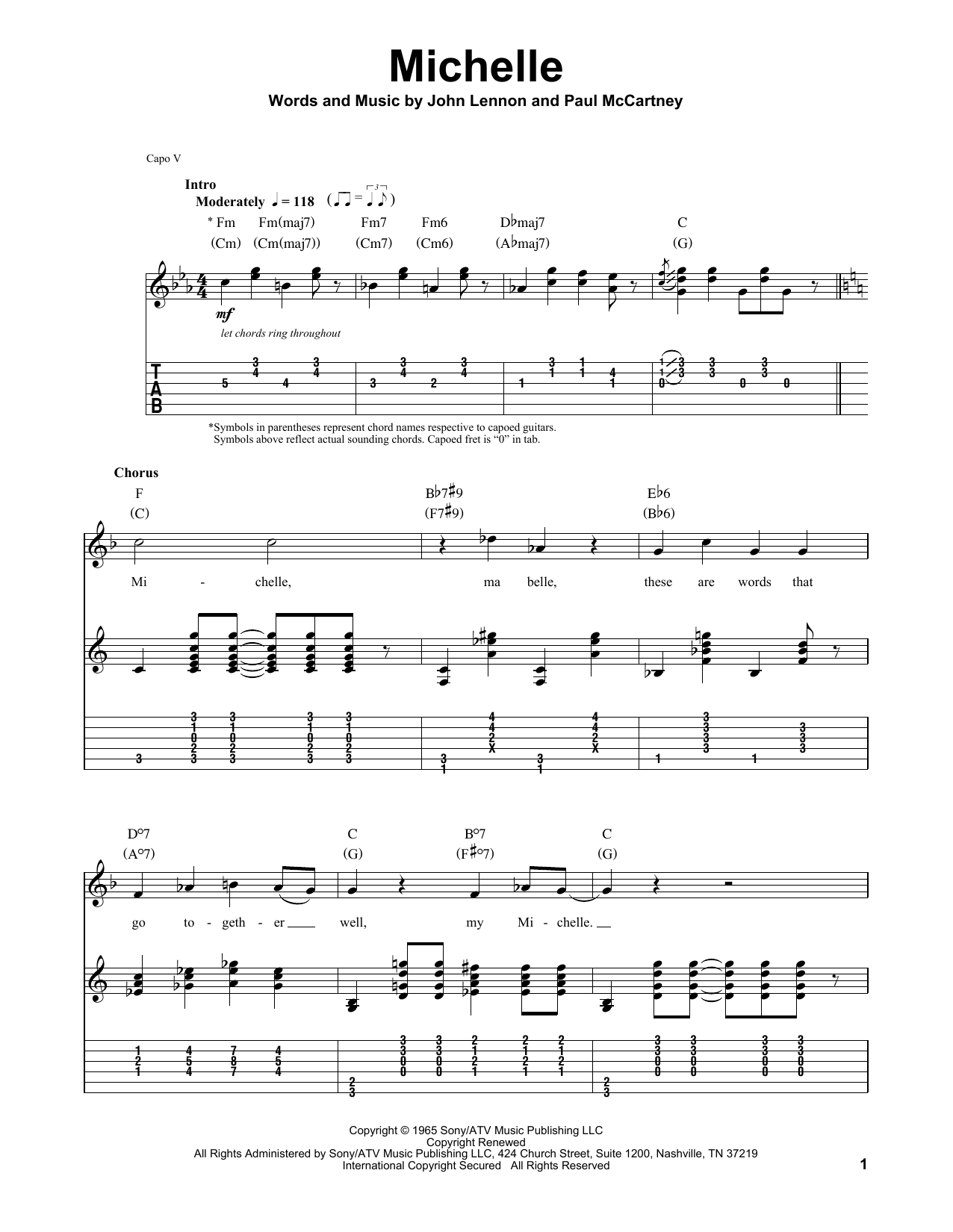 Tablature guitare Michelle de The Beatles - Tablature Guitare
