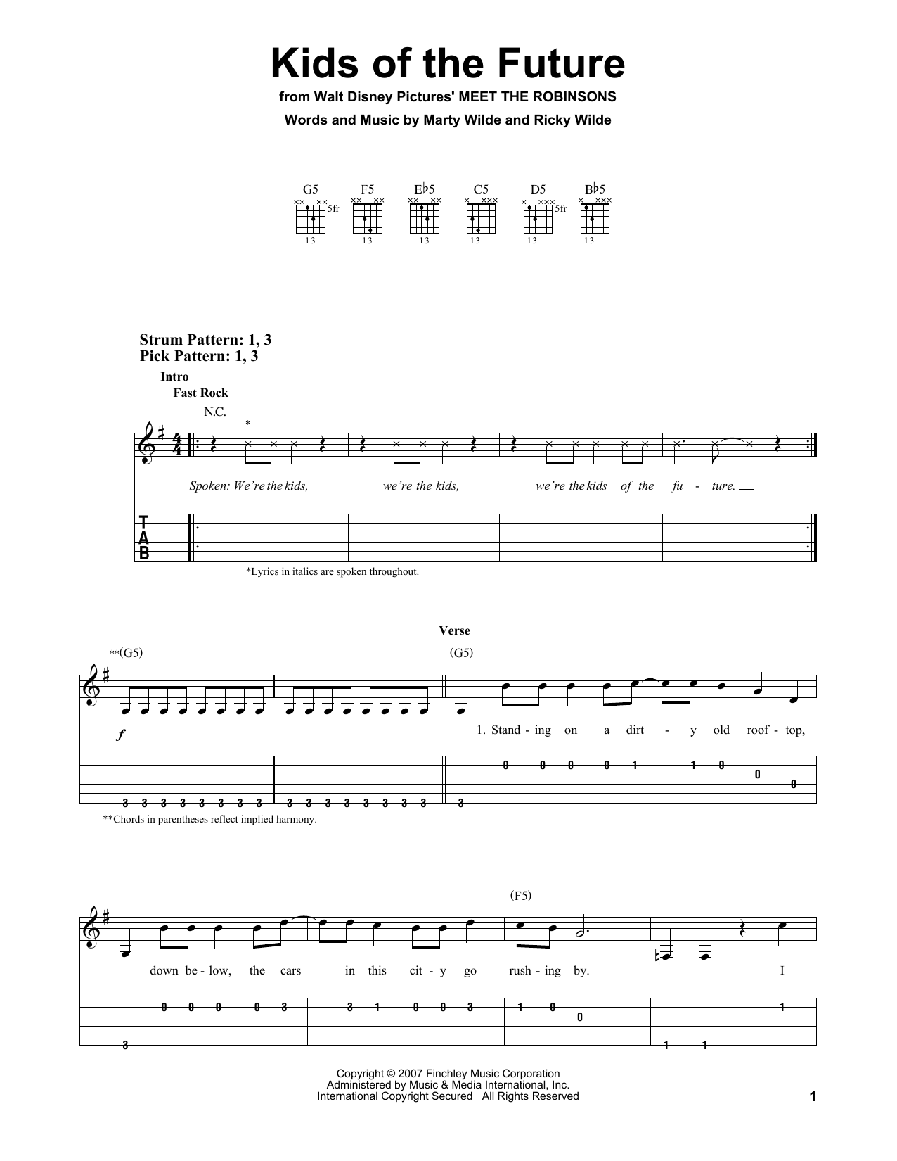 Kids Of The Future sheet music for guitar solo (easy tablature) by Ricky Wilde