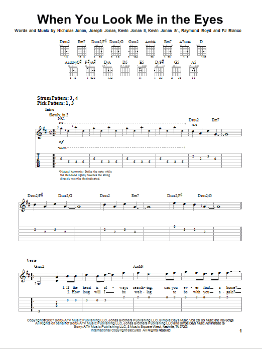 When You Look Me In The Eyes sheet music for guitar solo (easy tablature) by Raymond Boyd