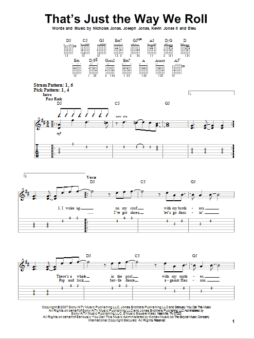 Tablature guitare That's Just The Way We Roll de Jonas Brothers - Tablature guitare facile