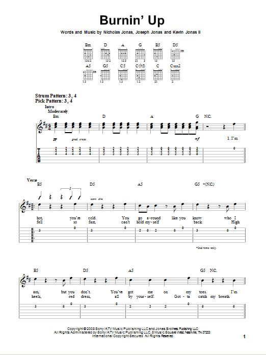 Tablature guitare Burnin' Up de Jonas Brothers - Tablature guitare facile