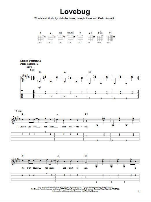 Tablature guitare Lovebug de Jonas Brothers - Tablature guitare facile