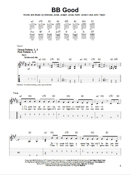 Tablature guitare BB Good de Jonas Brothers - Tablature guitare facile