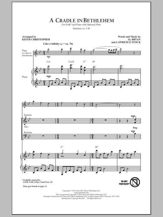 A Cradle In Bethlehem sheet music for choir and piano (SAB) by Alfred Bryan