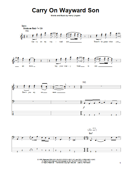 Carry On Wayward Son sheet music for bass (tablature) (bass guitar) by Kerry Livgren