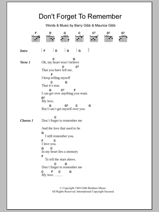 Don't Forget To Remember sheet music for guitar solo (chords, lyrics, melody) by Maurice Gibb
