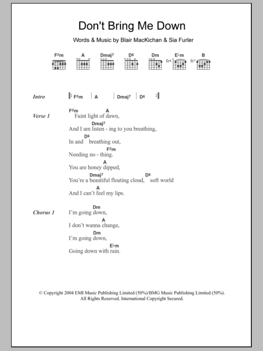Sheet Music Digital Files To Print - Licensed Sia Digital Sheet Music