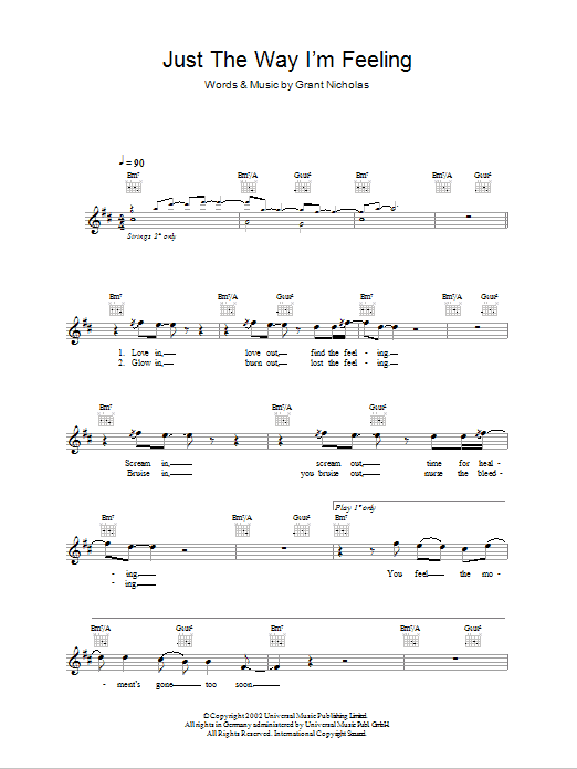 Just The Way I'm Feeling sheet music for voice and other instruments (fake book) by Grant Nicholas