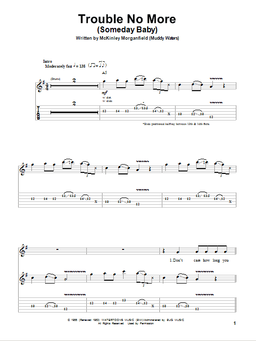 Tablature guitare Trouble No More (Someday Baby) de The Allman Brothers Band - Tablature Guitare