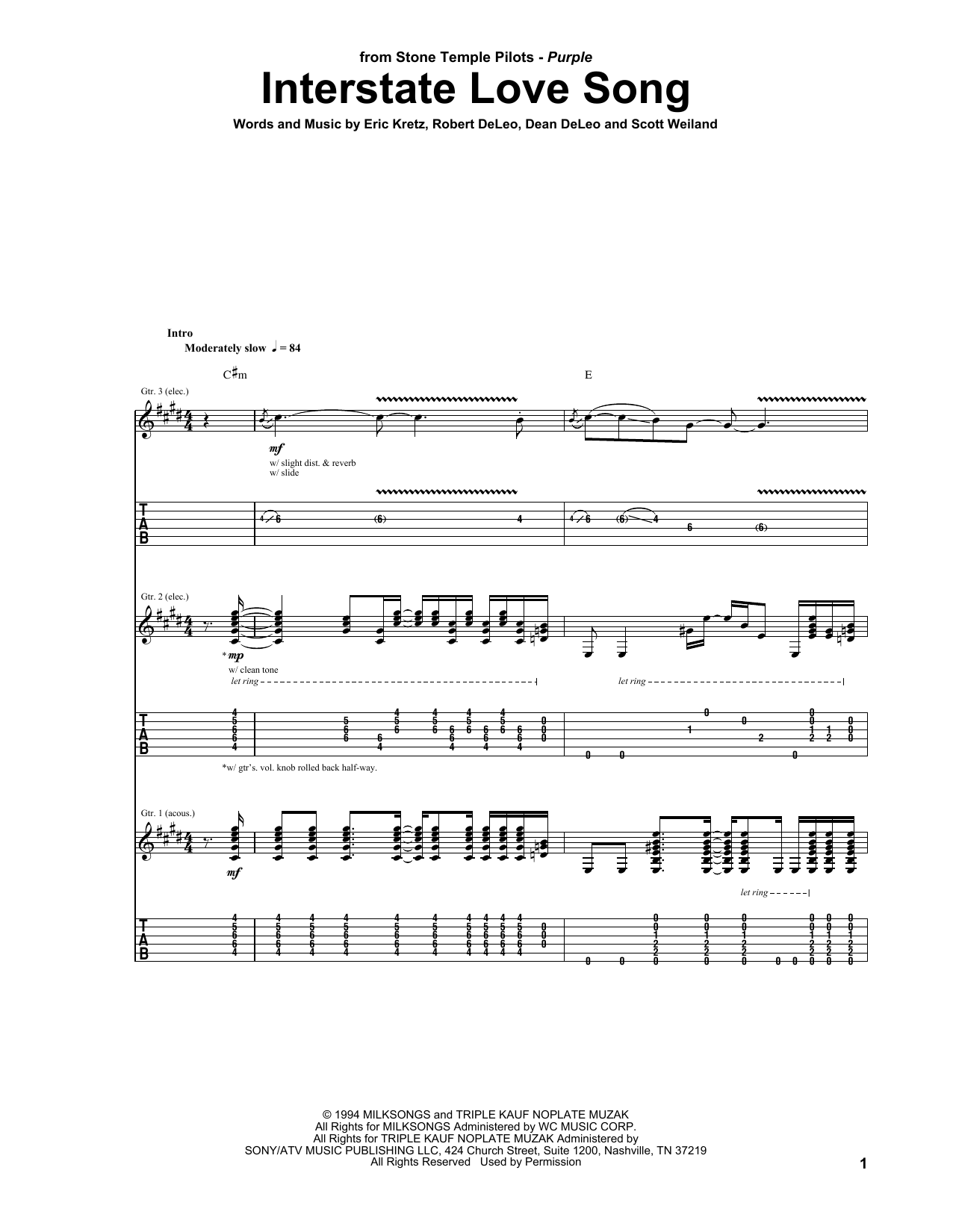 Tablature guitare Interstate Love Song de Stone Temple Pilots - Tablature Guitare