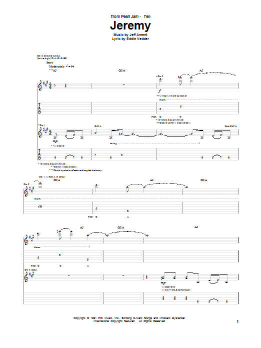 Jeremy sheet music for guitar solo (tablature) by Jeff Ament