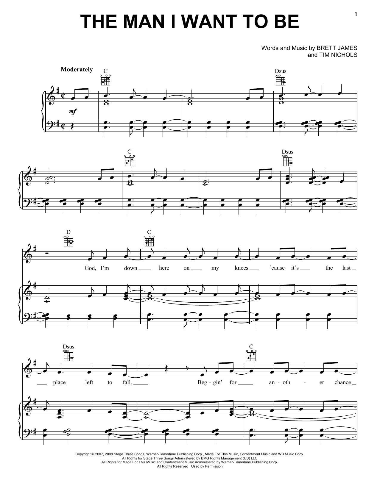 The Man I Want To Be sheet music for voice, piano or guitar by Tim Nichols