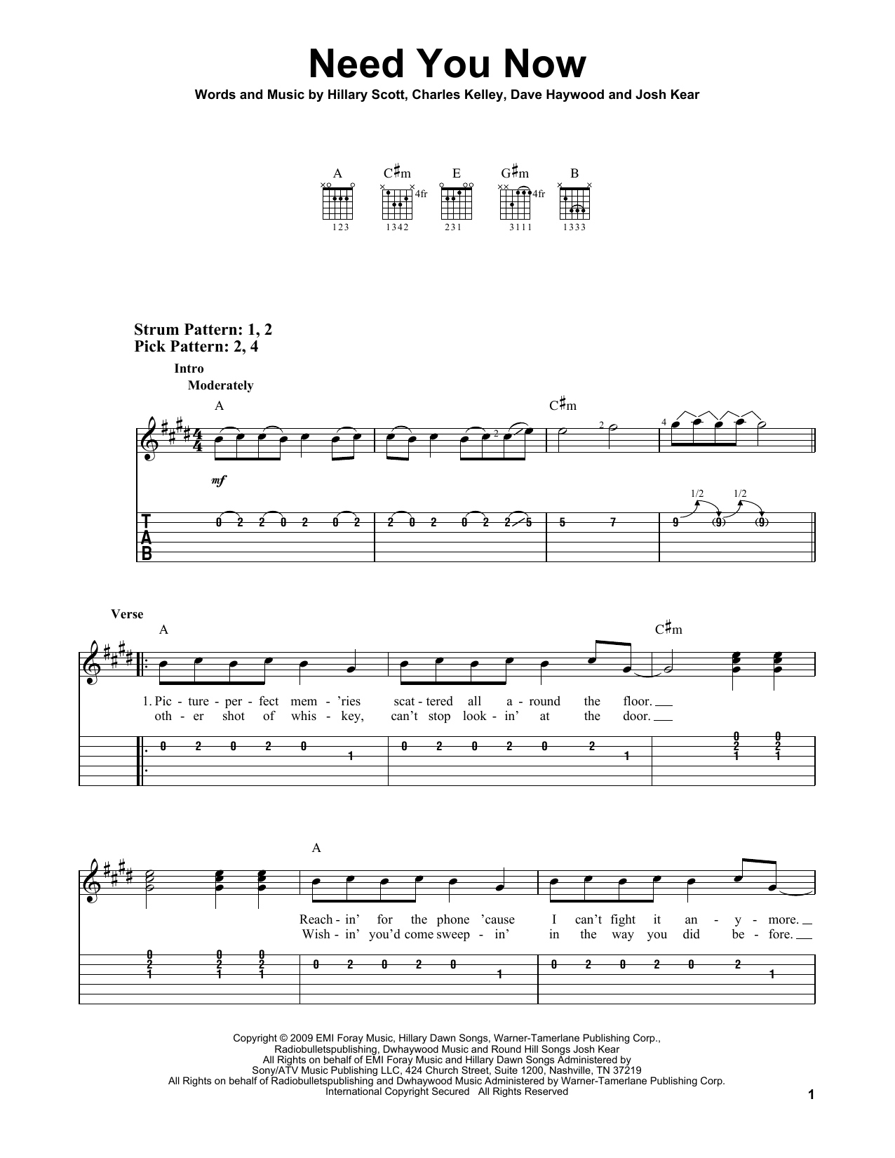 Need You Now sheet music for guitar solo (easy tablature) by Josh Kear
