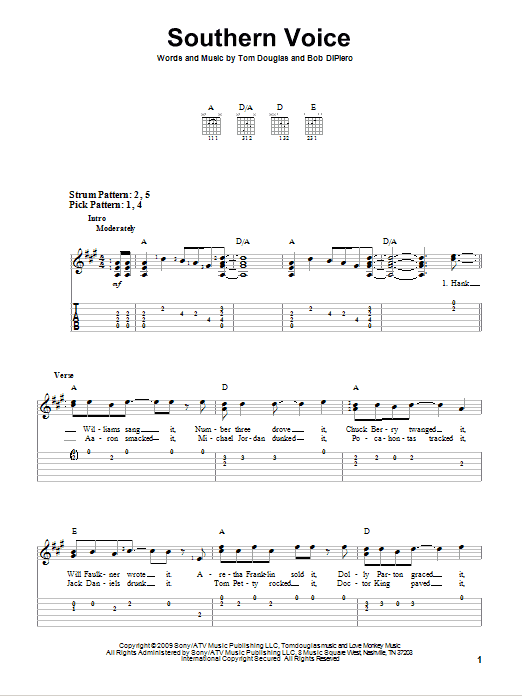 Southern Voice sheet music for guitar solo (easy tablature) by Tom Douglas