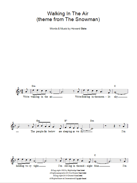 Walking In The Air sheet music for voice and other instruments (fake book) by Howard Blake