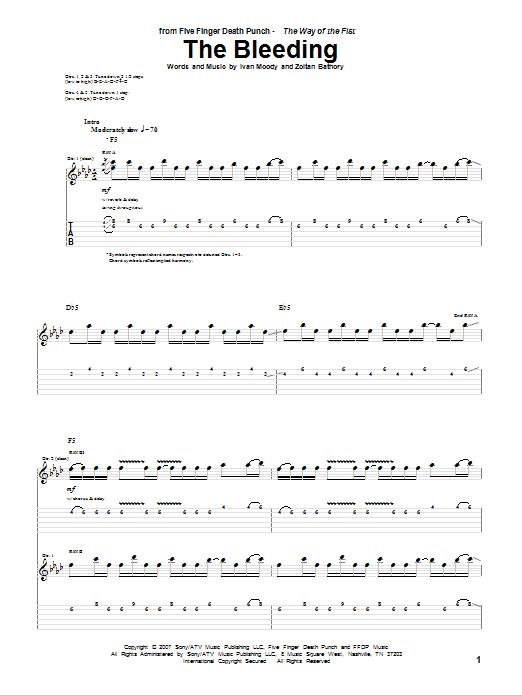 The Bleeding sheet music for guitar solo (tablature) by Zoltan Bathory