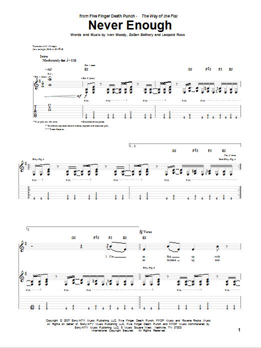 Tablature guitare Never Enough de Five Finger Death Punch - Tablature Guitare