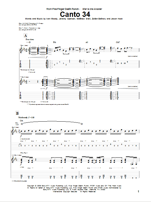 Tablature guitare Canto 34 de Five Finger Death Punch - Tablature Guitare