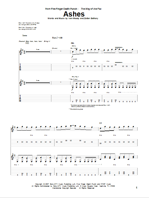 Tablature guitare Ashes de Five Finger Death Punch - Tablature Guitare