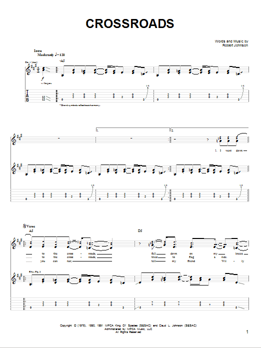 Cross Road Blues (Crossroads) sheet music for guitar solo (chords) by John Mayer