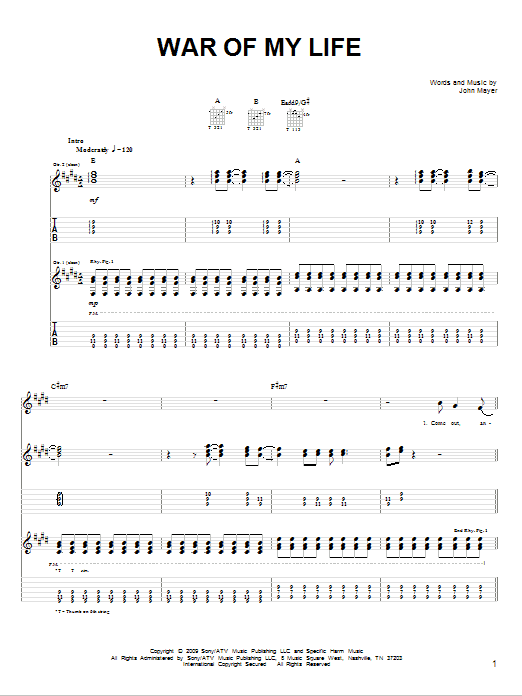 Tablature guitare War Of My Life de John Mayer - Tablature guitare facile