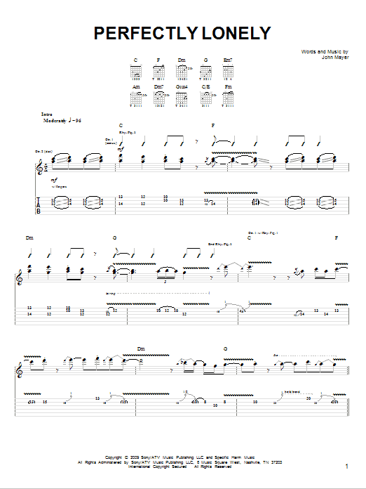 Tablature guitare Perfectly Lonely de John Mayer - Tablature guitare facile