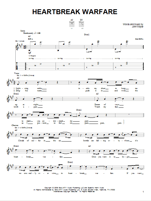 Tablature guitare Heartbreak Warfare de John Mayer - Tablature guitare facile