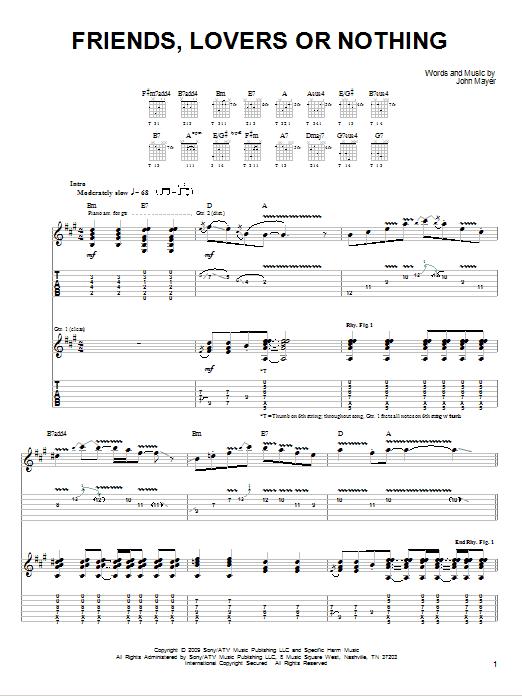 Tablature guitare Friends, Lovers Or Nothing de John Mayer - Tablature guitare facile