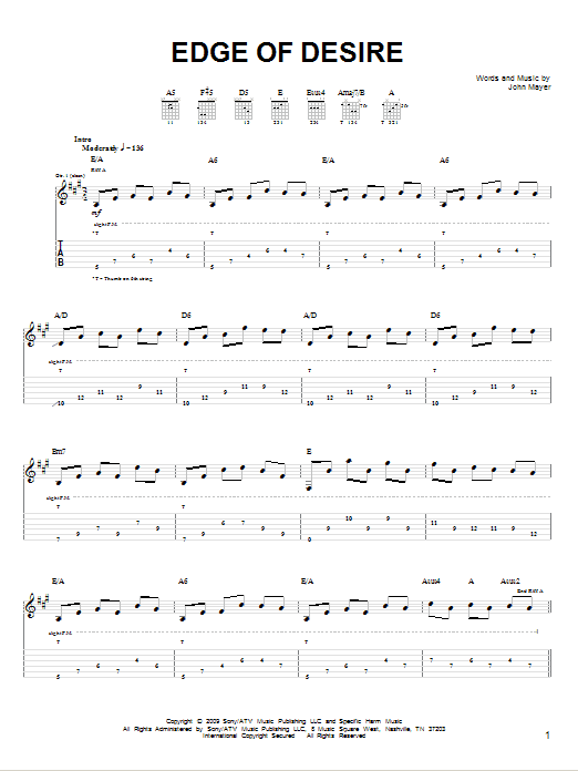 Tablature guitare Edge Of Desire de John Mayer - Tablature guitare facile