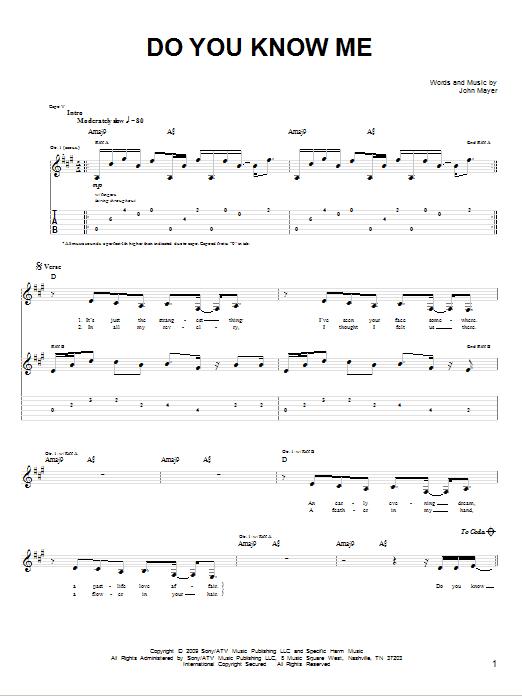 Tablature guitare Do You Know Me de John Mayer - Tablature guitare facile