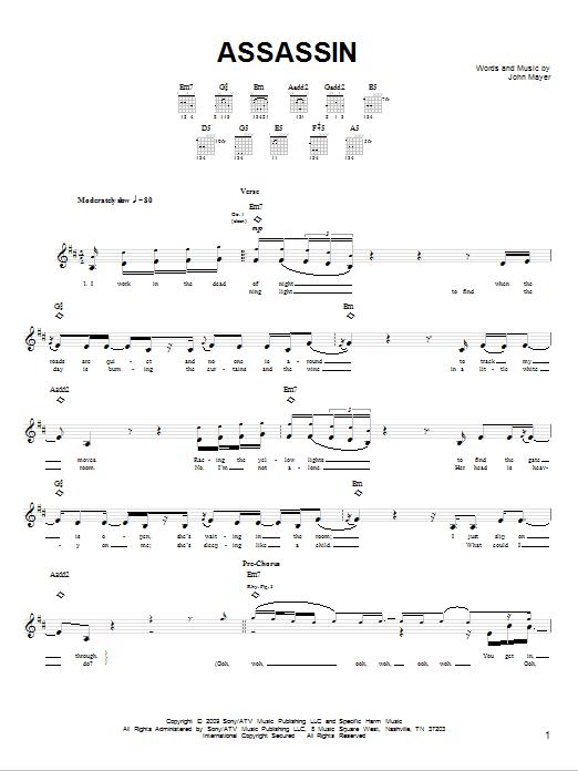 Tablature guitare Assassin de John Mayer - Tablature guitare facile