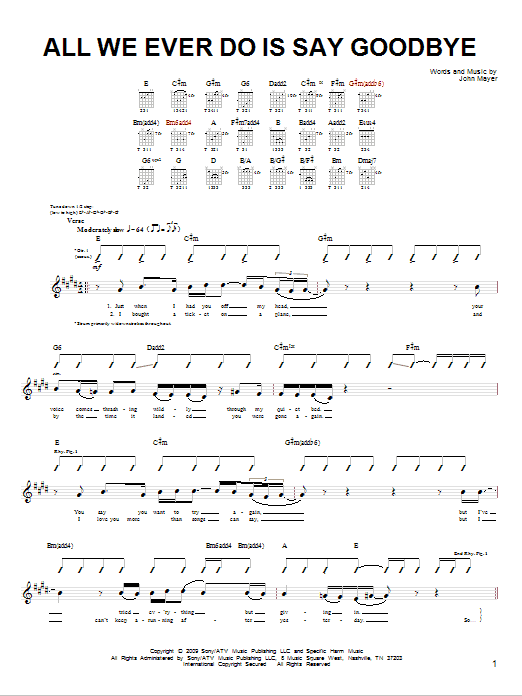 Tablature guitare All We Ever Do Is Say Goodbye de John Mayer - Tablature guitare facile