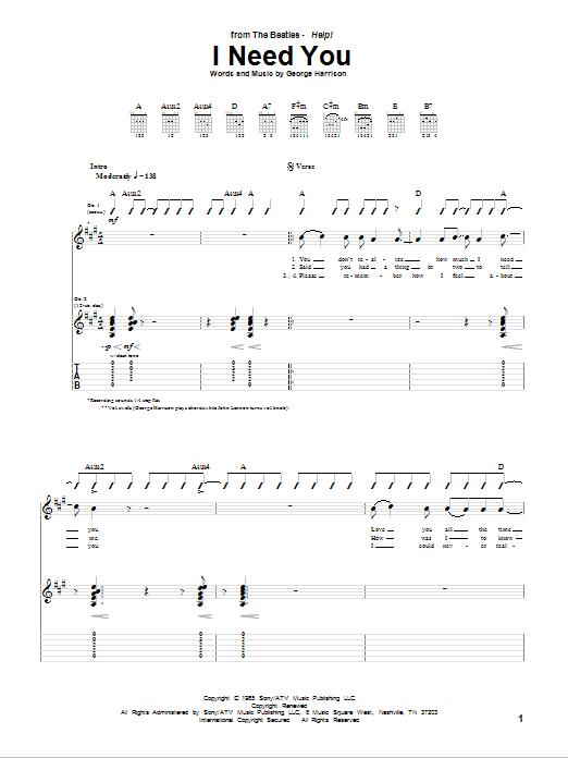 Tablature guitare I Need You de The Beatles - Tablature Guitare