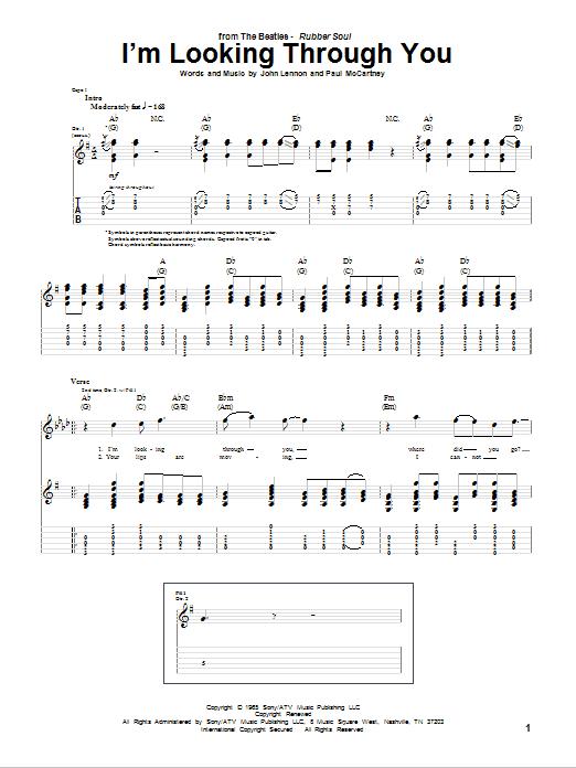 Tablature guitare I'm Looking Through You de The Beatles - Tablature Guitare