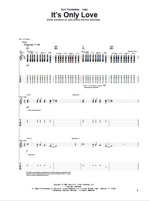 Tablature guitare It's Only Love de The Beatles - Tablature Guitare