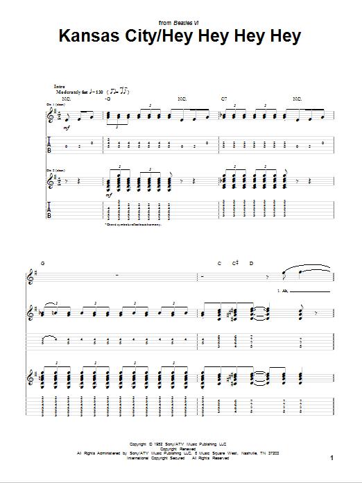 Tablature guitare Kansas City de The Beatles - Tablature Guitare