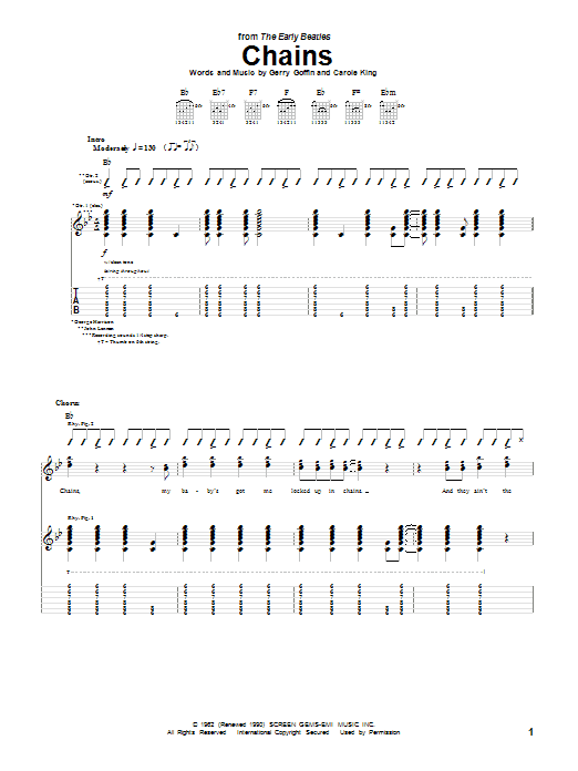 Tablature guitare Chains de The Beatles - Tablature Guitare