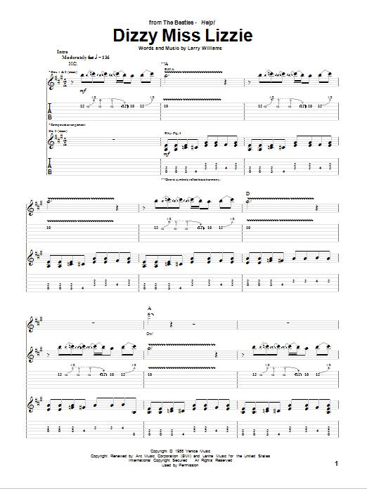Tablature guitare Dizzy Miss Lizzie de The Beatles - Tablature Guitare