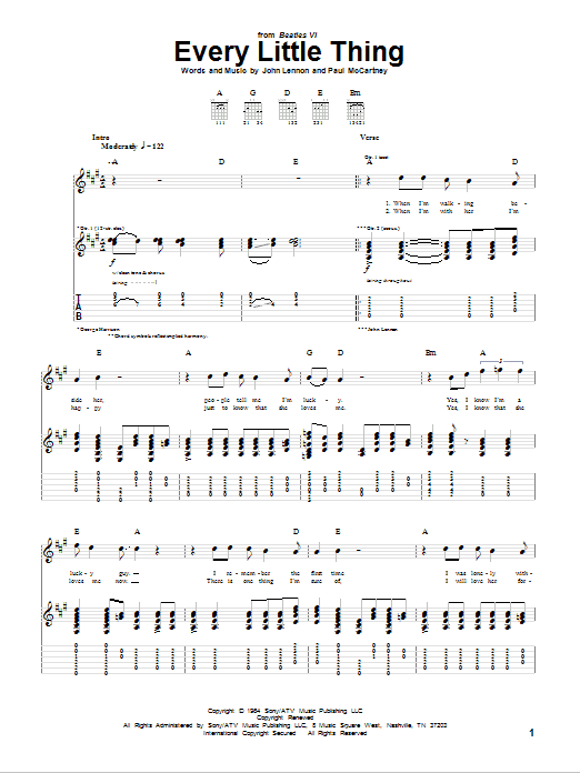 Tablature guitare Every Little Thing de The Beatles - Tablature Guitare