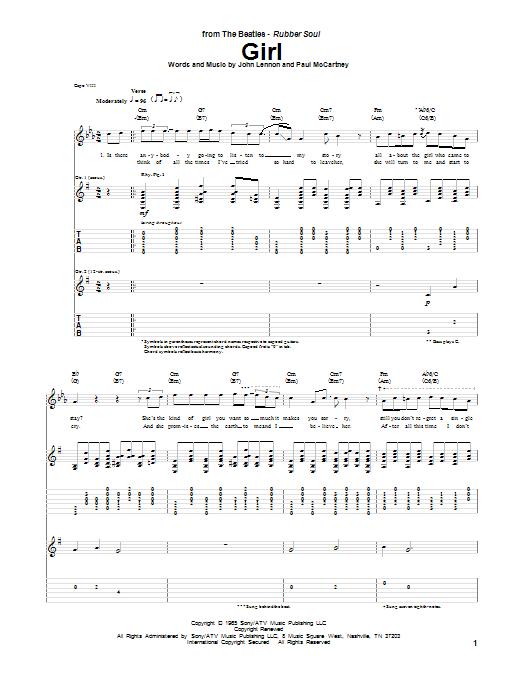 Tablature guitare Girl de The Beatles - Tablature Guitare