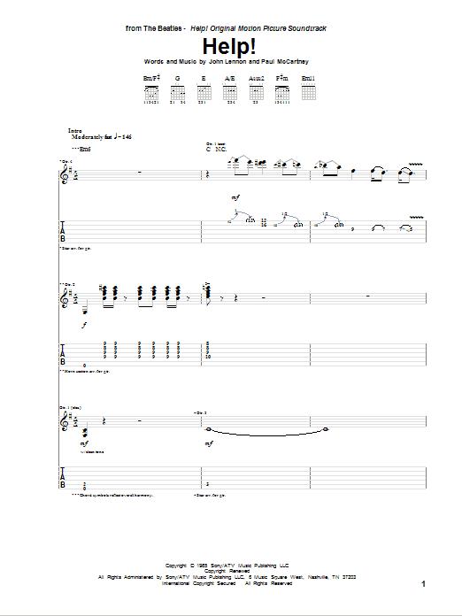 Tablature guitare Help! de The Beatles - Tablature Guitare