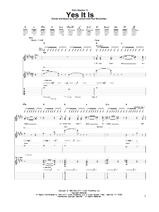 Tablature guitare Yes It Is de The Beatles - Tablature Guitare