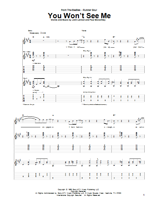 Tablature guitare You Won't See Me de The Beatles - Tablature Guitare