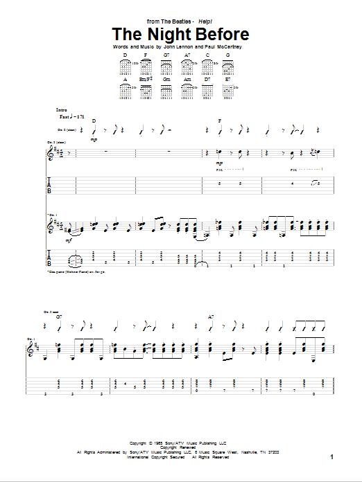 Tablature guitare The Night Before de The Beatles - Tablature Guitare