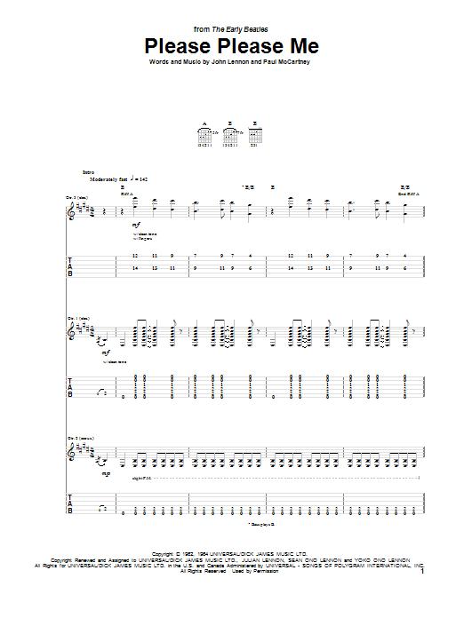 Tablature guitare Please Please Me de The Beatles - Tablature Guitare