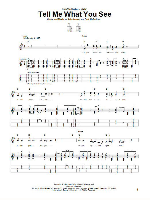 Tablature guitare Tell Me What You See de The Beatles - Tablature Guitare
