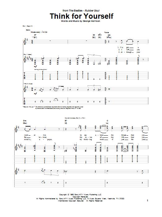 Tablature guitare Think For Yourself de The Beatles - Tablature Guitare