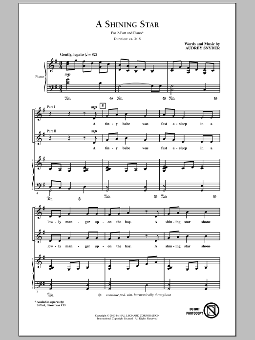 A Shining Star sheet music for choir and piano (duets) by Audrey Snyder